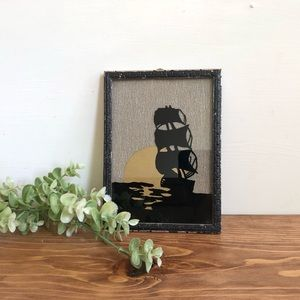 Vintage Reverse Painted Silhouette Ship Framed